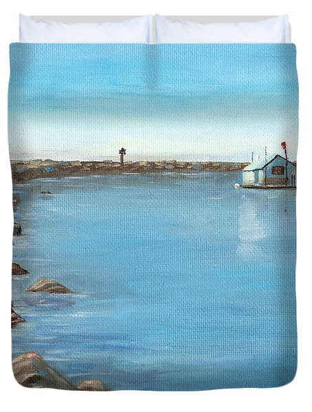 Duvet Cover featuring the painting Early Morning At Dana Point by Mary Scott