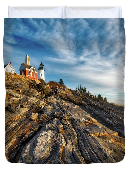 Duvet Cover featuring the photograph Early Morning At Pemaquid Point by Darren White