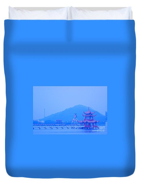 Duvet Cover featuring the photograph Early Morning At The Lotus Lake by Yali Shi