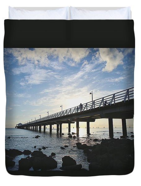 Early Morning At The Pier Duvet Cover