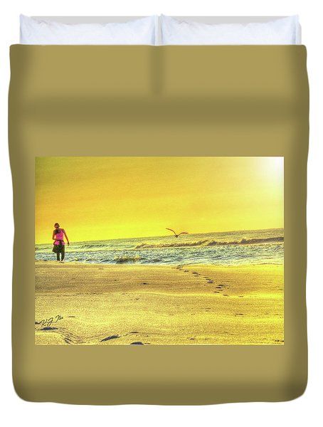 Early Morning Beach Walk Duvet Cover