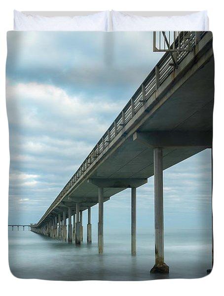 Early Morning By The Ocean Beach Pier Duvet Cover
