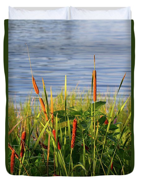 Early Morning Cattails Duvet Cover