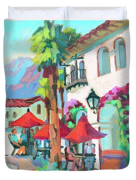 Duvet Cover featuring the painting Early Morning Coffee In Old Town La Quinta 2 by Diane McClary