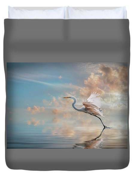 Early Morning Egret Duvet Cover