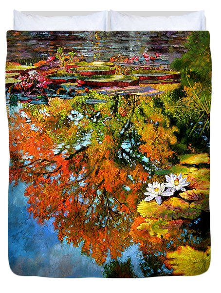 Early Morning Fall Colors Duvet Cover by John Lautermilch