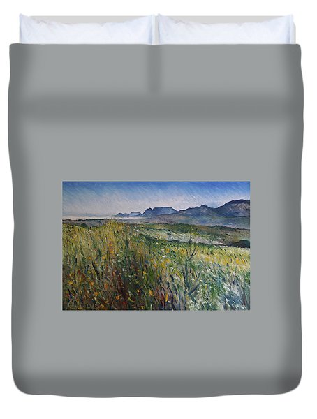 Early Morning Fog In The Foothills Of The Overberg Range Of Mountains Near Heidelberg South Africa. Duvet Cover by Enver Larney