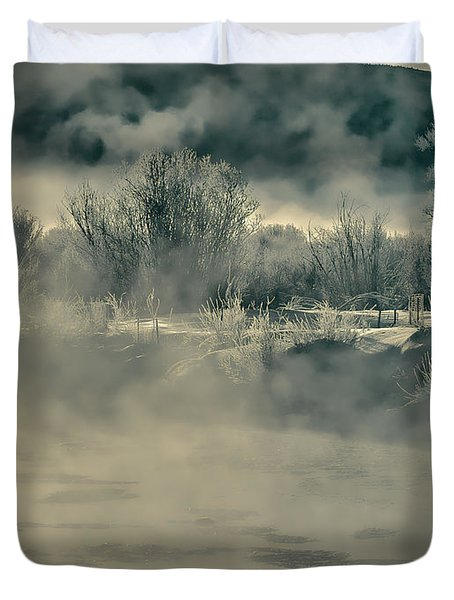 Duvet Cover featuring the photograph Early Morning Frost On The River by Don Schwartz