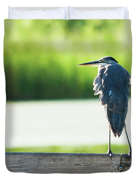 Early Morning Great Blue Heron Duvet Cover