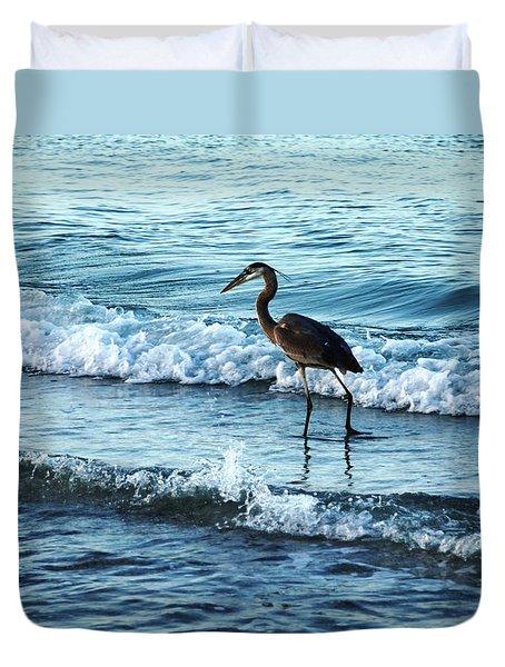 Early Morning Heron Beach Walk Duvet Cover