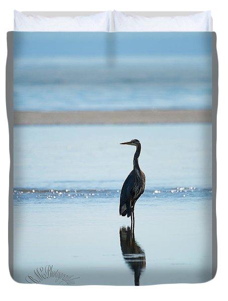 Early Morning Heron Duvet Cover