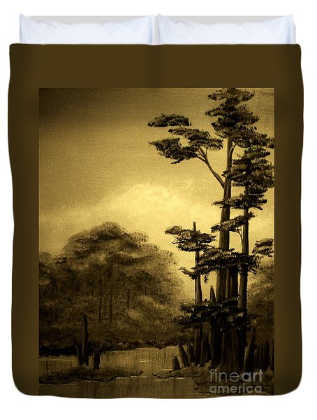 Early Morning In The Cypress Swamp Duvet Cover