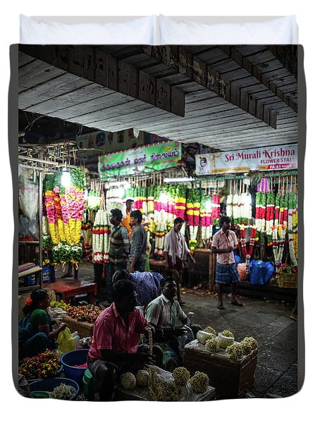 Duvet Cover featuring the photograph Early Morning Koyambedu Flower Market India by Mike Reid