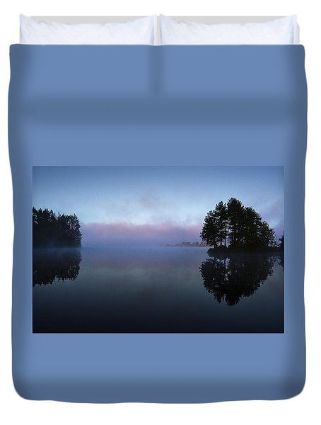 Early Morning Lake Nimisila Duvet Cover