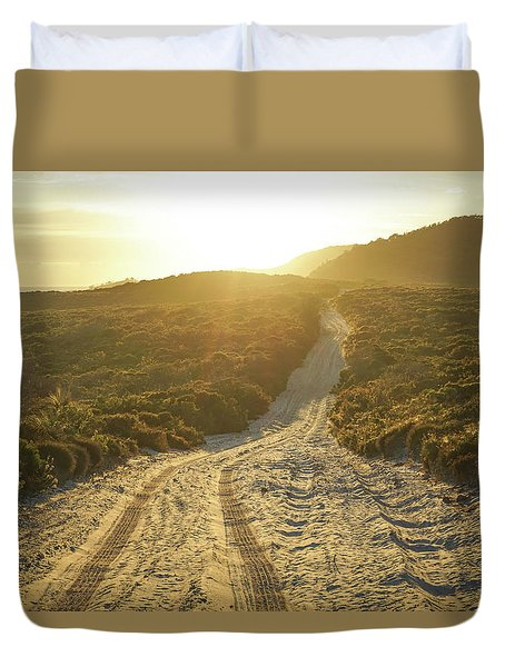 Early Morning Light On 4wd Sand Track Duvet Cover