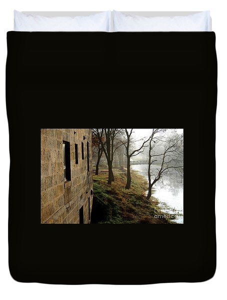 Early Morning Mist On The I  M Canal Duvet Cover