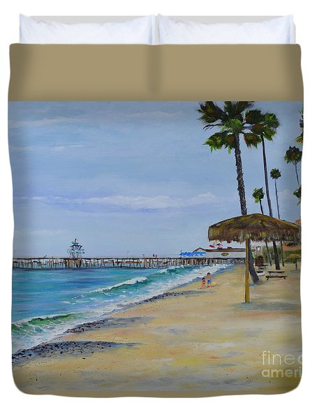 Duvet Cover featuring the painting Early Morning On The Beach by Mary Scott