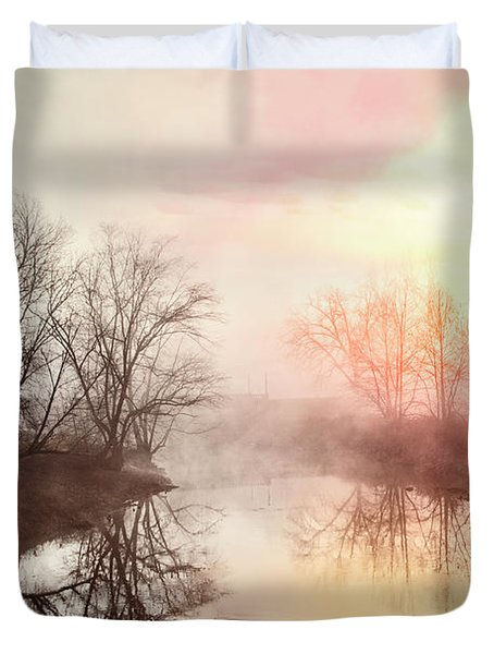 Duvet Cover featuring the photograph Early Morning On The River by Debra and Dave Vanderlaan
