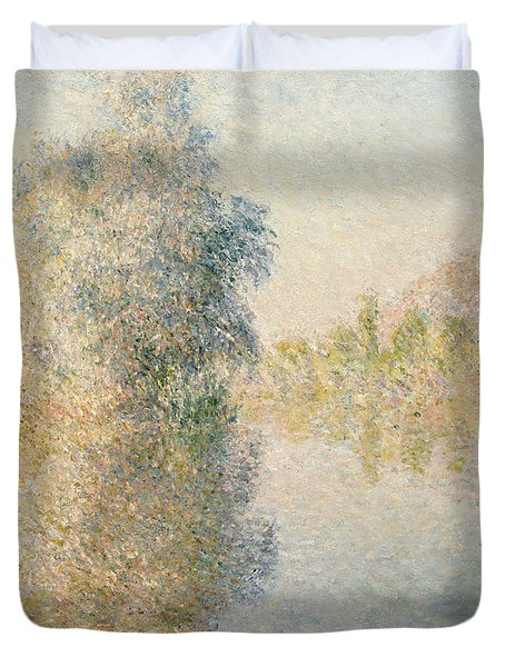 Early Morning On The Seine At Giverny Duvet Cover by Claude Monet