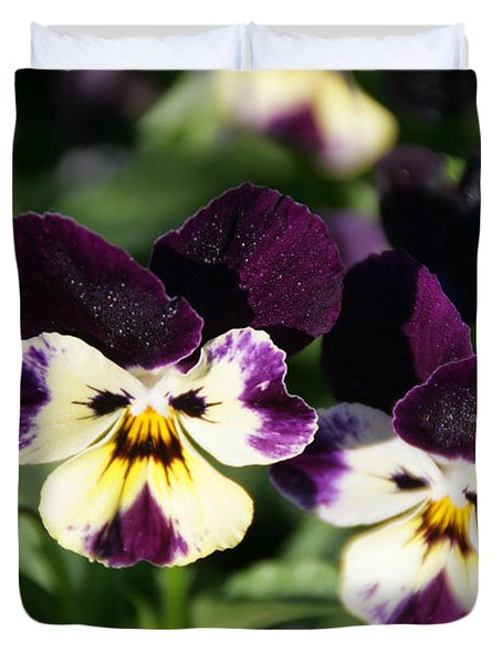 Early Morning Pansies Duvet Cover