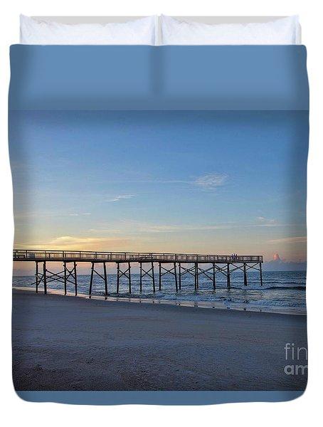 Early Morning Pier Duvet Cover
