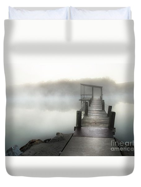 Yesterday's Early Morning Pier Duvet Cover by Tamyra Ayles
