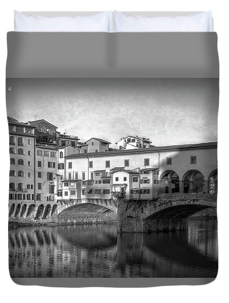 Duvet Cover featuring the photograph Early Morning Ponte Vecchio Florence Italy by Joan Carroll