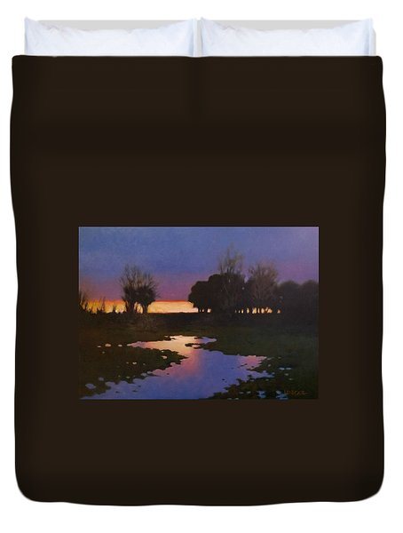 Early Morning Rice Fields Duvet Cover