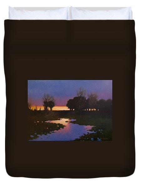 Early Morning Rice Fields Duvet Cover