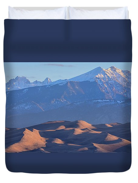 Early Morning Sand Dunes And Snow Covered Peaks Duvet Cover by James BO Insogna