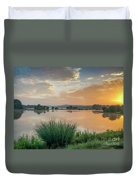 Early Morning Sunrise On The Lake Duvet Cover