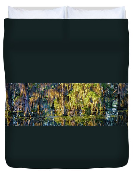 Early Morning Swampscape Duvet Cover