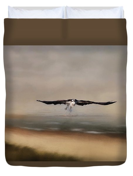 Duvet Cover featuring the photograph Early Morning Takeoff by Kim Hojnacki