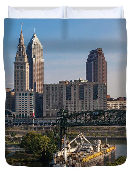 Early Morning Transport On The Cuyahoga River Duvet Cover