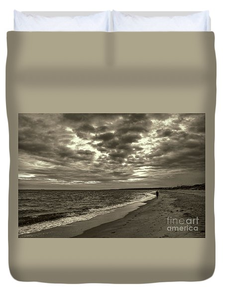 Early Morning Walk On Virginia Beach Duvet Cover