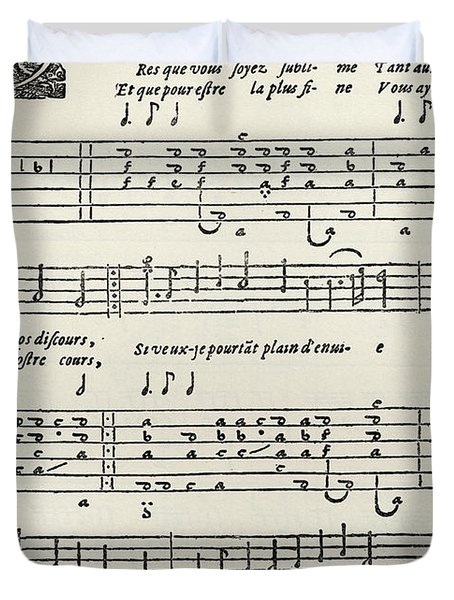 Early Printed Lute Score From 17th Century, With French Lyrics Duvet Cover