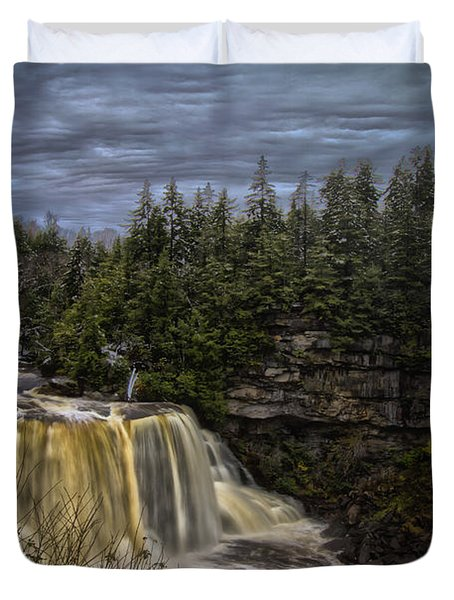 Early Snow At Black Water Falls Duvet Cover