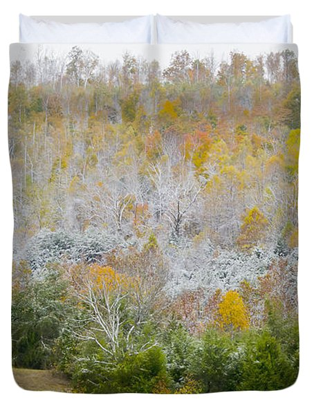 Duvet Cover featuring the photograph Early Snow Fall by Wanda Krack