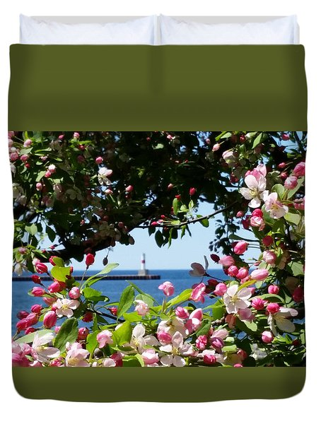 Early Spring Blossoms At The Waterfront Duvet Cover