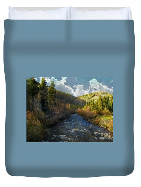 Early Spring Delores River Duvet Cover by Annie Gibbons