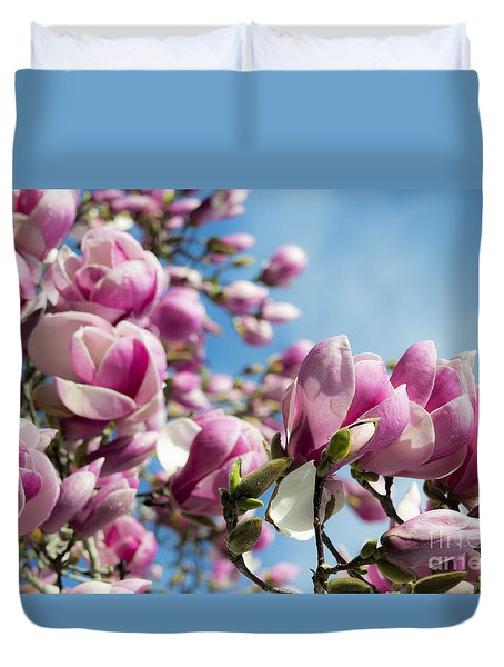 Duvet Cover featuring the photograph Early Spring Magnolia by Angela DeFrias
