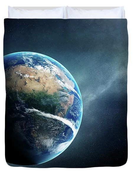 Earth And Moon Space View Duvet Cover