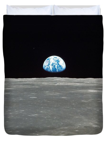Earth And The Moon Duvet Cover by Stocktrek Images