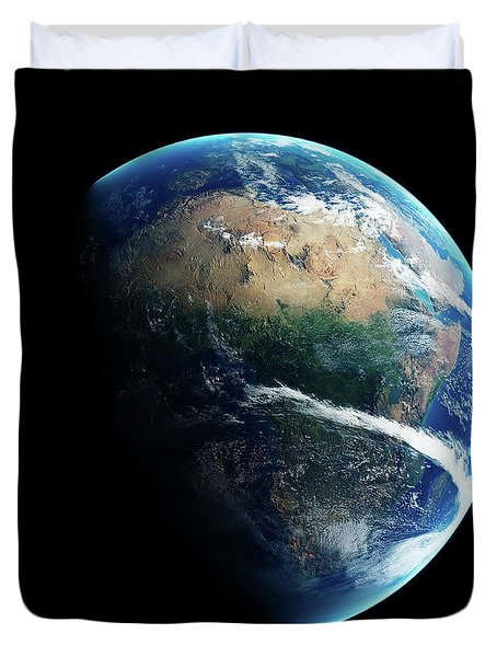 Earth Day And Night Space View Duvet Cover