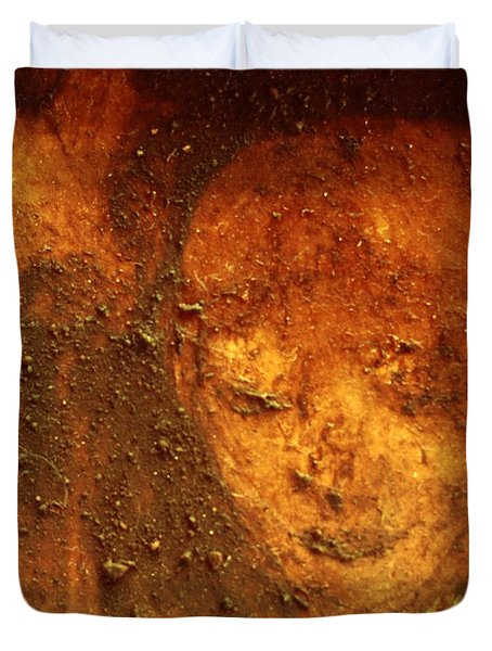Duvet Cover featuring the painting Earth Face by Winsome Gunning