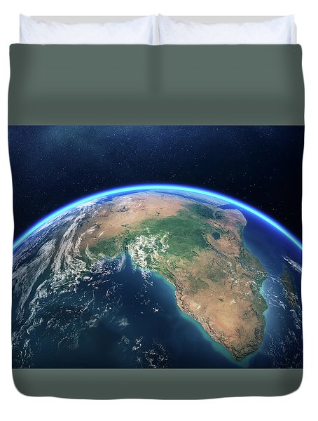Earth From Space Africa View Duvet Cover
