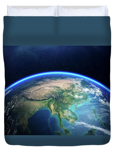 Earth From Space Asia View Duvet Cover