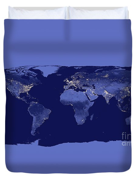 Duvet Cover featuring the photograph Earth From Space by Delphimages Photo Creations