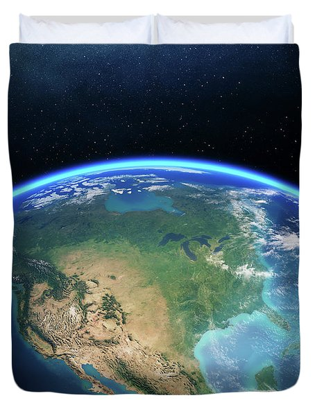 Earth From Space North America Duvet Cover
