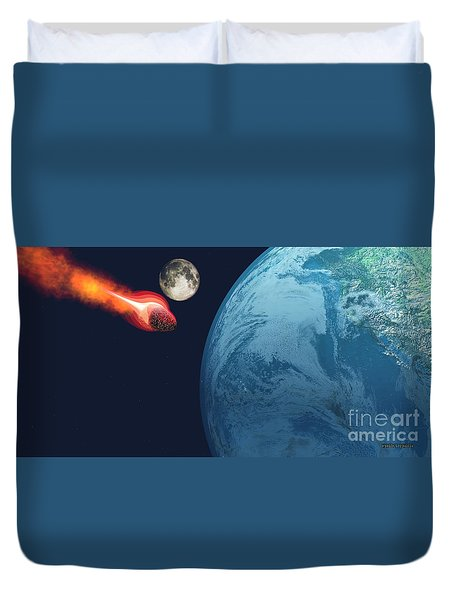 Earth Hit By Asteroid Duvet Cover by Corey Ford